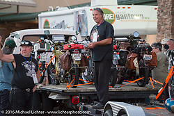 Bikes are being unloaded off of the sweep truck during the Motorcycle Cannonball Race of the Century. Stage-2 from York, PA to Morgantown, WV. USA. Sunday September 11, 2016. Photography ©2016 Michael Lichter.