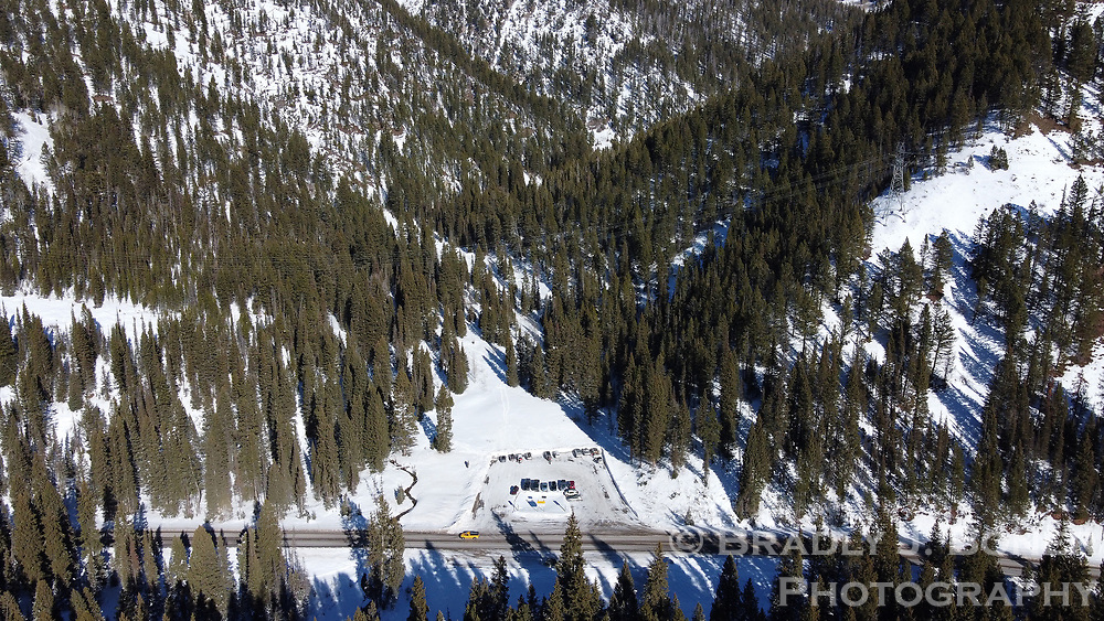 Aerial of Coal Creek parking lot on the west side of Teton Pass