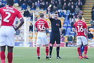 Taylor Maloney of Charlton Athletic (36) is cautioned by Ollie Yates Referee during the The FA Cup match between Mansfield Town and Charlton Athletic at the One Call Stadium, Mansfield, England on 11 November 2018.