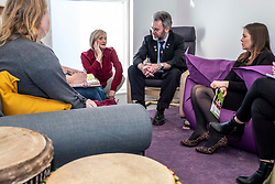 Pictured: Aileen Campbell and Councillor Steven Heddle (representing COSLA) met with youth workers in the quiet room<br /> <br /> Aileen Campbell, MSP, on visit to Space in ESpacedinburgh, a previous charity recipient, announced the  latest £25m regeneration funding. <br /> <br /> Ger Harley | EEm 27 February 2020