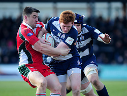 Bristol Winger (#14) Jack Tovey is stopped by Plymouth Albion Fly-Half (#10) Declan Cusack - Photo mandatory by-line: Dougie Allward/JMP - Tel: Mobile: 07966 386802 31/03/2013 - SPORT - RUGBY - Memorial Stadium - Bristol. Bristol v Plymouth Albion - RFU Championship.