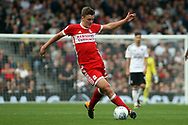 Dael Fry of Middlesbrough in action. EFL Skybet championship match, Fulham v Middlesbrough at Craven Cottage in London on Saturday 23rd September 2017<br /> pic by Steffan Bowen, Andrew Orchard sports photography.