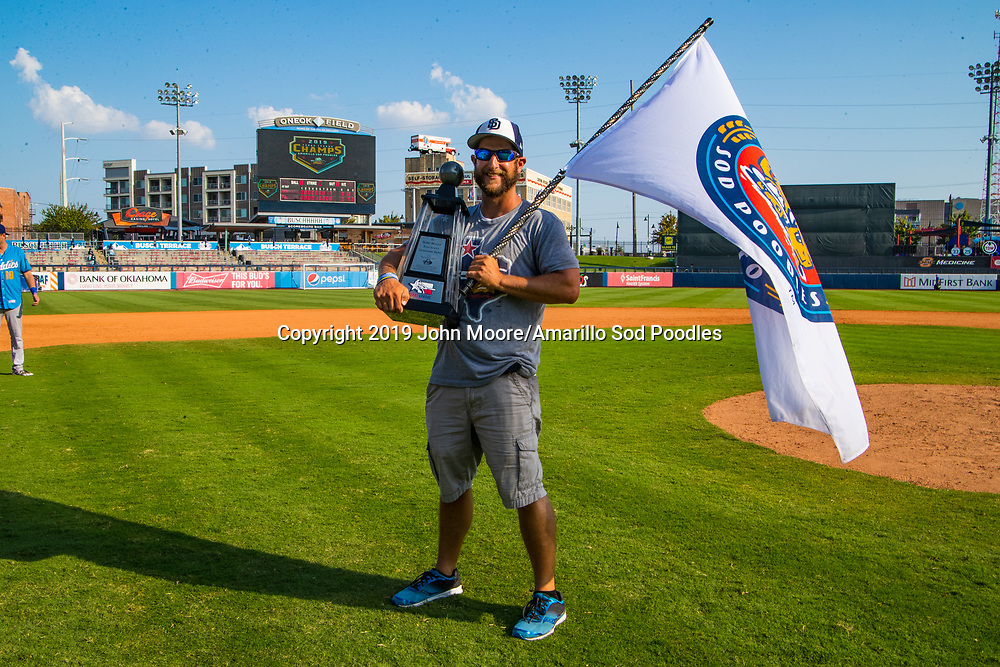 Wayne Loblein poses with the trophy after the Sod Poodles won against the Tulsa Drillers during the Texas League Championship on Sunday, Sept. 15, 2019, at OneOK Field in Tulsa, Oklahoma. [Photo by John Moore/Amarillo Sod Poodles]