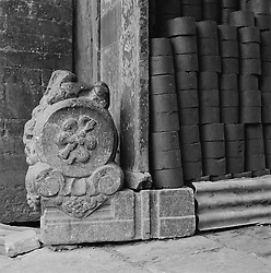 Detail of ornate carved stone and coal cricks in house in a hutong in Beijing