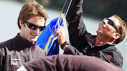 Adam Minoprio (left), ETNZ/BlackMatch Racing. St Moritz Match Race 2010. World Match Racing Tour. St Moritz, Switzerland. 2nd September 2010. Photo: Ian Roman/WMRT.