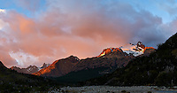 Patagonia Dawn Panorama from Hosteria El Pilar in El Chalten, Argentina. Composite of 5 vertical image taken with a Nikon D3s and 50 mm f/1.4G lens (ISO 400, 50 mm, f/5.6, 1/200 sec) using AutoPano Giga Pro. Unfortunately Mount Fitz Roy is hidden in the orange clouds.