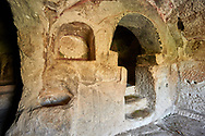"""Pictures & images of the interior font of the  Comlekci Church,  10th century, the Vadisi Monastery Valley, """"Manastır Vadisi"""",  of the Ihlara Valley, Guzelyurt , Aksaray Province, Turkey.<br /> <br /> Comlekci Church is a Roman Byzantine church dating from the 10th century. the south section of the roof frescoes depict the Evangel, Christmas and the adoration of the magi. The northern panel frescoes depict Christ and the Cross. .<br /> <br /> If you prefer to buy from our ALAMY PHOTO LIBRARY  Collection visit : https://www.alamy.com/portfolio/paul-williams-funkystock/vadisi-monastery-valley-turkey.html<br /> <br /> Visit our TURKEY PHOTO COLLECTIONS for more photos to download or buy as wall art prints https://funkystock.photoshelter.com/gallery-collection/3f-Pictures-of-Turkey-Turkey-Photos-Images-Fotos/C0000U.hJWkZxAbg"""