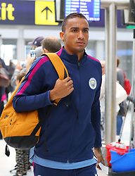 Danilo as the Manchester City team arrive at Manchester Airport as they jet for Iceland