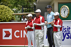October 11, 2017 - Kuala Lumpur, MALAYSIA - Prime Minister of Malaysia Najib Razak(C) and Thomas Pieters(2nd R) of Belgium pose for photo during during the PRO-AM day of the CIMB Classic 2017 at TPC Kuala Lumpur on October 11, 2017 in Kuala Lumpur, Malaysia. (Credit Image: © Chris Jung via ZUMA Wire)