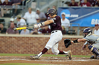 Texas A&M's Michael Barash (5) hits a two RBI double against TCU during the 1st inning of a NCAA college baseball super regional tournament game, Friday, June 10, 2016, in College Station, Texas. (AP Photo/Sam Craft)