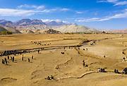 Aerial of a Buzkashi game, Yaklawang, Afghanistan