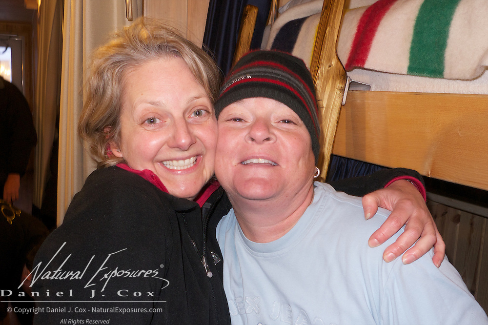 Rachel and Nicole having a good time in the bunkhouse known as Laperouse Cape Churchill, Hudson Bay, Manitoba.