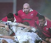 Watford,  Hertfordshire, Parker Pen  Rugby Cup, 12th December 2002, [Mandatory Credit: Peter Spurrier/Intersport Images],<br /> Parker Pen - European Cup - Vicarage Road - <br /> Saracens v Colomiers<br /> Sarries Hooker Matt Cairnes [centre]