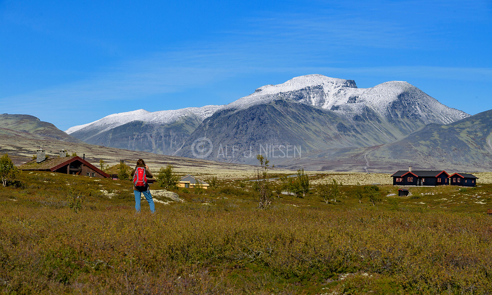 View from Spranget (Sel municipality, Innlandet, Norway) towards Rondane , the entrance to the famous mountain ridge and national park.