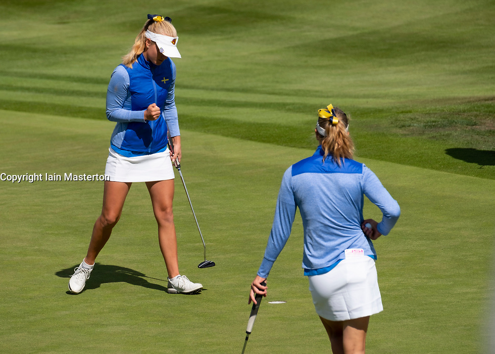 Gleneagles, Scotland, UK; 9 August, 2018.  Day two of European Championships 2018 competition at Gleneagles. Men's and Women's Team Championships Round Robin Group Stage - 2nd Round. Four Ball Match Play format. Johanna Gustavsson and Julia Engstrom (L) of Sweden win match against Germany