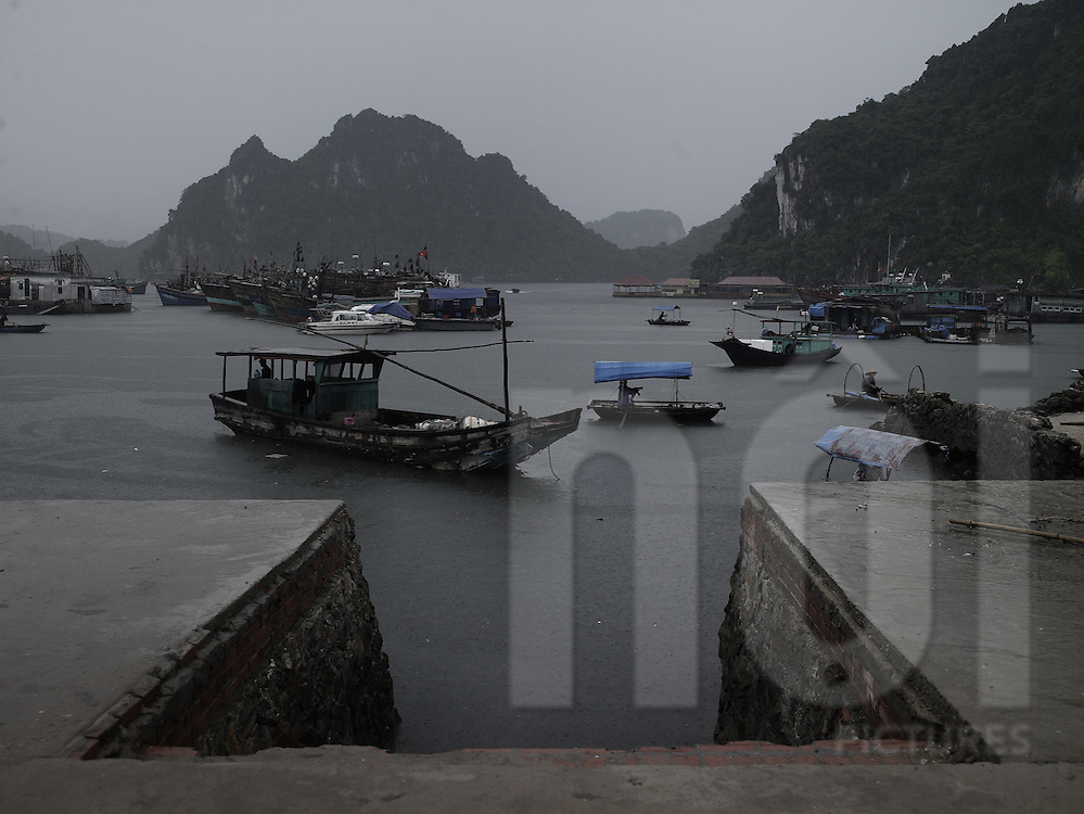 Concrete pier with fishermen boats moored in the harbour. Cai Rong, Van Don island, vietnam, Asia.