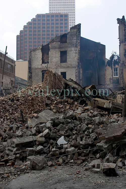 03 Sept  2005. New Orleans, Louisiana. Post hurricane Katrina.<br /> The burned out remains of an old building in the Central Business district of New Orleans that suspected arsonists set light to.<br /> Photo Credit ©: Charlie Varley/varleypix.com