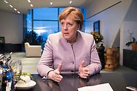 20 MAR 2017, BERLIN/GERMANY:<br /> Angela Merkel, CDU, Bundeskanzlerin, waehrend einem Interview, in ihrem Buero, Bundeskanzleramt<br /> IMAGE: 20170320-01-003<br /> KEYWORDS: Büro