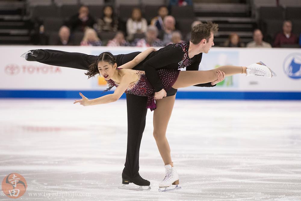 January 4, 2018; San Jose, CA, USA; Alexandria Yao and Jacob Simon perform in the pairs short program during the 2018 U.S. Figure Skating Championships at SAP Center.