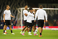 Daniel Alves of Juventus shares a joke with team-mates<br /> <br /> Photographer Kevin Barnes/CameraSport<br /> <br /> UEFA Champions League Final - Training session - Juventus v Real Madrid - Friday 2nd June 2017 - Principality Stadium - Cardiff<br />  <br /> World Copyright © 2017 CameraSport. All rights reserved. 43 Linden Ave. Countesthorpe. Leicester. England. LE8 5PG - Tel: +44 (0) 116 277 4147 - admin@camerasport.com - www.camerasport.com