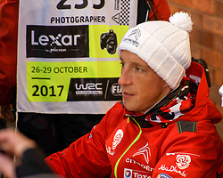 October 26, 2017 - Deeside, Wales, United Kingdom - 9 Kris Meeke (GBR) of CitroÃ«n World Rally Team greets fans prior to the Rally GB round of the 2017 FIA World Rally Championship. (Credit Image: © Hugh Peterswald/Pacific Press via ZUMA Wire)