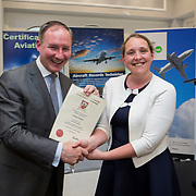 24.05.2018.       <br /> The Limerick Institute of Technology with Atlantic Air Adventures and funding from the Aviation Skillnet presented over forty certificates to Aviation professionals who have completed the Certificate in Aviation, The Aircraft Records Technician Level 7 and Part 21 Design, Level 7.<br /> <br /> Pictured at the event was Jim Gavin, The Irish Aviation Authority and Manager of the Dublin Football Team who presented, Catherine Murphy with their cert.<br /> <br /> LIT in partnership with Atlantic Air Adventures, CAE Parc Aviation, Part 21 Design and industry experts such as Anton Tams, GECAS, Don Salmon, CAE Parc Aviation and Mick Malone, Part 21 Design have developed and deliver these key training programmes with funding for aviation companies provided by The Aviation Skillnet.<br /> <br /> . Picture: Alan Place
