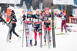 January 6, 2018 - Val Di Fiemme, ITALY - 180106 Krista Parmakoski of Finland, Heidi Weng of Norway and Teresa Stadlober of Austria after the women's 10km mass start classic technique during Tour de Ski on January 6, 2018 in Val di Fiemme..Photo: Jon Olav Nesvold / BILDBYRÃ…N / kod JE / 160122 (Credit Image: © Jon Olav Nesvold/Bildbyran via ZUMA Wire)