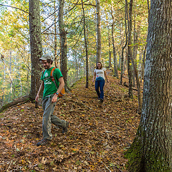 A young man and woman walking in the woods in Marshfield, Massachusetts. Hoyt-Hall Preserve.