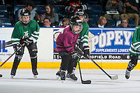 KELOWNA, CANADA - FEBRUARY 10: Kelowna Minor Hockey players scrimmage during intermission at the Kelowna Rockets against the Vancouver Giants on February 10, 2017 at Prospera Place in Kelowna, British Columbia, Canada.  (Photo by Marissa Baecker/Shoot the Breeze)  *** Local Caption ***