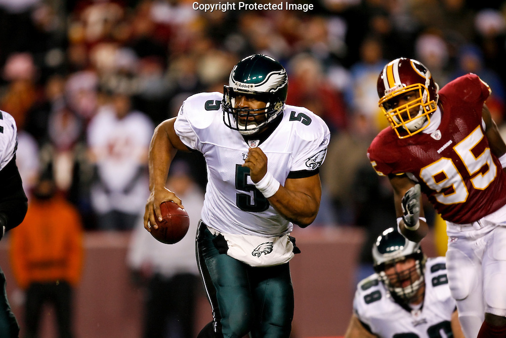 21 Dec 2008: Philadelphia Eagles quarterback Donovan McNabb #5 runs the ball during the game against the Washington Redskins on December 21st, 2008. The Redskins beat the Eagles 10-3 at FedEx Field in Landover, Maryland.