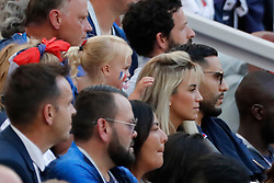 France's Antoine Griezmann wife Erika Choperana and their daughter Mia during the 2018 FIFA World Cup Russia game, France vs Denmark in Luznhiki Stadium, Moscow, Russia on June 26, 2018. France and Denmark drew 0-0. Photo by Henri Szwarc/ABACAPRESS.COM