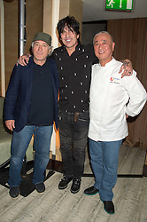 Left to right, ROBERT DE NIRO, TOMMY LEE and NOBU MATSUHISA at a party to celebrate the 10th anniversary of Nobu Berkeley Street held on 5th November 2015.