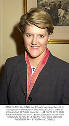 MISS CLARE BALDING the TV racing presenter, at a reception in London on 9th January 2001.OKH 41