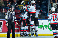 KELOWNA, BC - MARCH 6: Kaedan Korczak #6 of the Kelowna Rockets jumps in the air to celebrate a second period goal against the Seattle Thunderbirds at Prospera Place on March 6, 2020 in Kelowna, Canada. (Photo by Marissa Baecker/Shoot the Breeze)