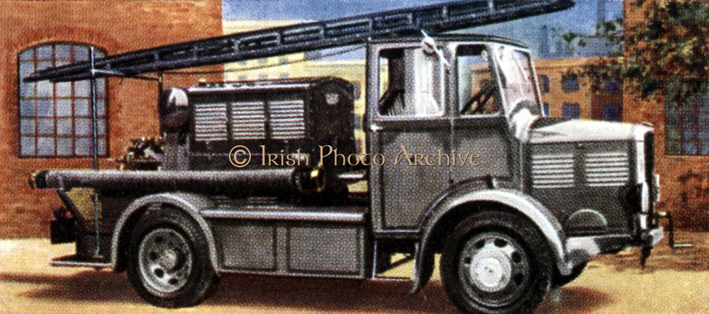 Air Raid Precautions: Set of 50 cards issued by WD & H0 Wills, Britain 1938, in preparation for the anticipated coming of World War II. Heavy duty emergency fire pump unit with telescopic ladder attached. Designed by Home Office, could delivery in excess of 1,000 gallons a minute.