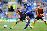 Birmingham's Jonathan Spector (l) tries to block  a shot from Cardiff City's Kenneth Zohore's (c)  Skybet football league championship match, Cardiff city v Birmingham city at the Cardiff city stadium in Cardiff, South Wales on Saturday 7th May 2016.<br /> pic by Carl Robertson, Andrew Orchard sports photography.