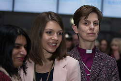 © Licensed to London News Pictures . 09/02/2015 . Manchester , UK . LIBBY LANE (3rd from left), the Bishop of Stockport , carries out her first public engagement since being ordained as the first woman Bishop in the Church of England . Bishop Libby Lane meets victims of human trafficking at Manchester Airport's Terminal 2 Arrival Lounge and speaks in support of efforts to clamp down on human trafficking . Photo credit : Joel Goodman/LNP
