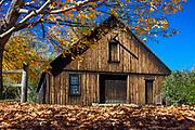 Rustic autumn barn, Woodstock, Vermont, USA.