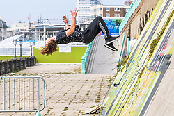 © Licensed to London News Pictures.08/05/2020. Brighton, UK. Some youth can be seen practicing parkour on the Brighton and Hove promenade on the May Bank Holiday Friday as the country remains under the Coronavirus lockdown. Photo credit: Hugo Michiels/LNP