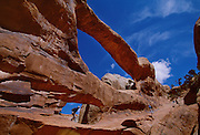 """Arches National Park, near Moab.  Their are over 2000 natural sandstone arches in the park, from just over 3 ft. to over 89 meters.  This is Double """"OO"""" Arch."""