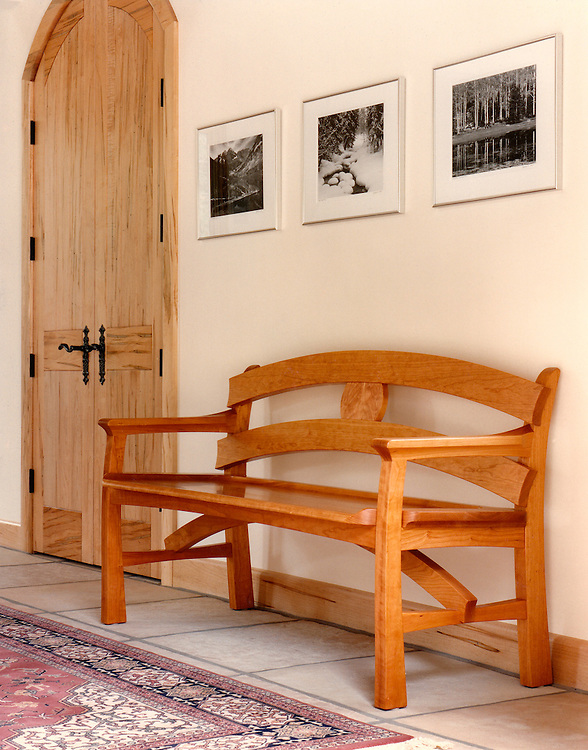 Entry bench<br /> one of 32 pieces designed and built for a client that resided in Vail, Co. handmade furniture/chairs