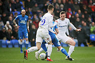 Coventry City midfielder Jordan Shipley (26) trying to stop Peterborough Utd's Kyle Dempsey (30) during the EFL Sky Bet League 1 match between Peterborough United and Coventry City at London Road, Peterborough, England on 16 March 2019.