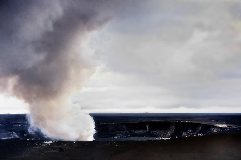Sulpher dioxide gases from Halemaumau Crater are emitted into the air at Hawaii Volcanoes National Park on the island of Hawaii.