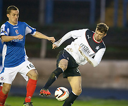 Cowdenbeath's James Fowler and Falkirk's Rory Loy.<br /> Cowdenbeath 0 v 2 Falkirk, Scottish Championship game today at Central Park, the home ground of Cowdenbeath Football Club.<br /> © Michael Schofield.