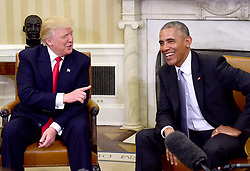 November 10, 2016 - Washington, District of Columbia, United States of America - United States President Barack Obama meets US President -elect Donald Trump in the Oval Office of the White House in Washington, DC on November 10, 2016..Credit: Ron Sachs / CNP. (Credit Image: © Ron Sachs/CNP via ZUMA Wire)