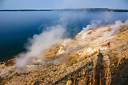 Fumaroles outgas at Steamboat Point, Yellowstone Lake, Yellowstone National Park, Wyoming, USA. Yellowstone was established as the world's first national park in 1872 and was listed by UNESCO as a World Heritage site in 1978.