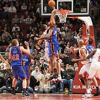 17 December 2009: New York Knicks forward Al Harrington blocks Chicago Bulls center Brad Miller during the Chicago Bulls 98-89 victory over the New York Knicks at the United Center, in Chicago, Illinois, USA.