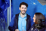 AFC Wimbledon defender Will Nightingale (5) smiling and watching from the stands during the EFL Sky Bet League 1 match between AFC Wimbledon and Peterborough United at the Cherry Red Records Stadium, Kingston, England on 18 January 2020.