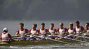 Bled, Slovenia, YUGOSLAVIA. GBR LM8+. Bow. Andrew BUTT, Michael DISERENS,  Rob WILLIAMS, Bill DOWNING, Jeremy MICHALITSIANOS, Richard METCALF, stroke John WEST  cox Andrew PROBERT 1989 World Rowing Championships, Lake Bled. [Mandatory Credit. Peter Spurrier/Intersport Images]