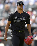 CHICAGO - AUGUST 25:  Reynaldo Lopez #40 of the Chicago White Sox looks on against the Texas Rangers during Players Weekend on August  25, 2019 at Guaranteed Rate Field in Chicago, Illinois.  (Photo by Ron Vesely)  Subject:   Reynaldo Lopez